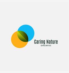organic eco bio leaf logo on white background vector image