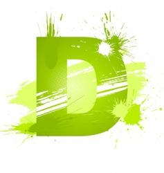 Paint splashes font letter d vector