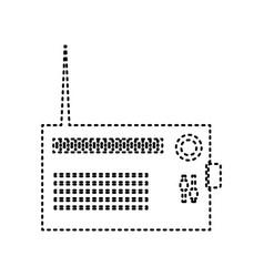 Radio sign black dashed icon vector