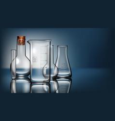 realistic glass laboratory equipment set flasks vector image