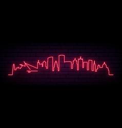 Red neon skyline milwaukee bright milwaukee vector