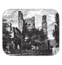 Ruins of kelso abbey vintage vector