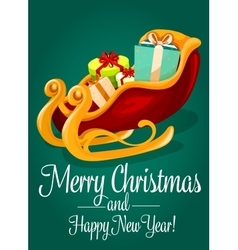 Santas sleigh with gift box christmas holiday card vector