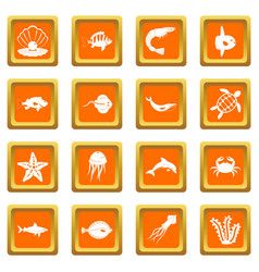 sea animals icons set orange vector image vector image