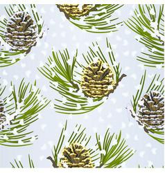 Seamless texture christmas golden pine cone vector