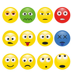 Set multicolored smileys with emotions vector