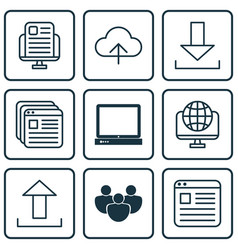 Set of 9 world wide web icons includes pc data vector