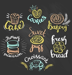 Set of color bakery logos on the chalkboard Bakery vector image
