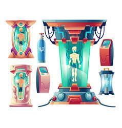Set of futuristic equipment for hibernation vector