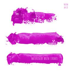 Set of magenta purple pink lilac watercolor vector
