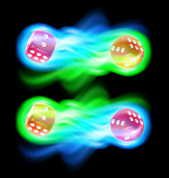set of two red dices in blue and green fire vector image