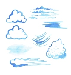 Set of watercolor clouds vector image