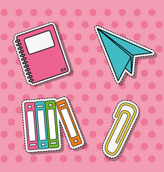 Set school tools education patches stickerts vector