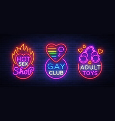 Sex shop set of logos in neon style neon sign vector
