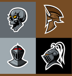 Skull and knight helm logo set vector