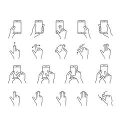 Smartphones gesture icons vector