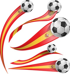 Spain flag set with soccer ball vector