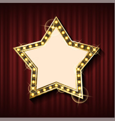 star shaped empty banner on red curtain vector image