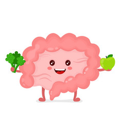 strong healthy happy intestine character vector image