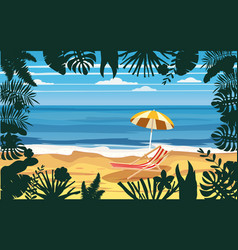summer holidays vacation umbrella beach chair vector image