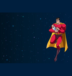 Super dad with baby in space vector