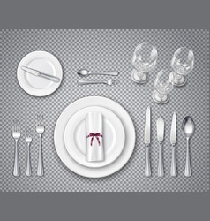 table setting transparent set vector image