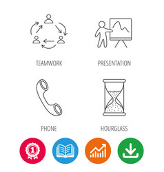 teamwork presentation and phone call icons vector image