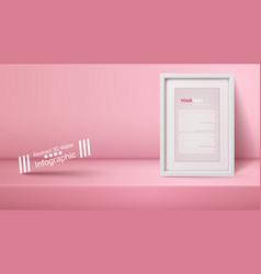 template empty pink studio photostudio room vector image