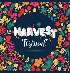 text harvest festival in paper style on multicolor vector image