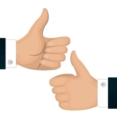 Thumbs up icon gesture back and front isolated vector