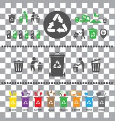 trash categories recycle garbage bin vector image