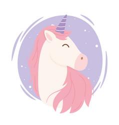 Unicorn pink hair magical fantasy cartoon cute vector