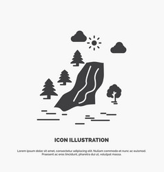 Waterfall tree pain clouds nature icon glyph gray vector