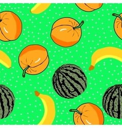 Watermelon apricots and banan pattern vector