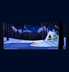 winter snowy night landscape with little house in vector image