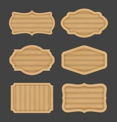 Wooden board label banner design Realistic wood vector image
