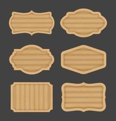 Wooden board label banner design Realistic wood vector