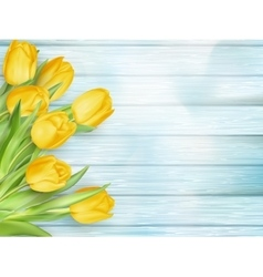 Yellow tulips flowers on wooden planks EPS 10 vector