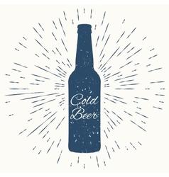 Cold beer hipster vintage label vector image