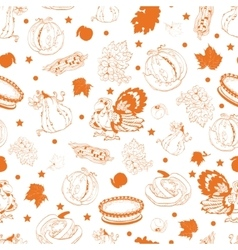 Cornucopia Thanksgiving Pumpkin Turkey Corn vector image