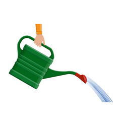hand with green plastic watering can vector image vector image