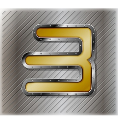 Metallic number three vector image