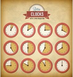 Set of vintage clocks vector image