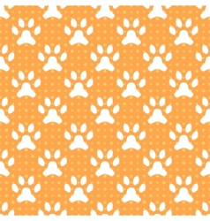 Animal seamless pattern of paw footprint and dot vector image vector image