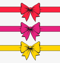 Set of bows with ribbons vector