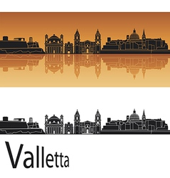 Valletta skyline in orange background vector image vector image