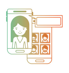 woman and group social network chat in smartphone vector image
