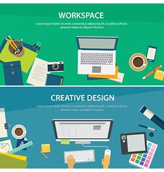 workspace and creative design banner template vector image vector image