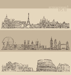 City set london paris rome vintage engraved vector