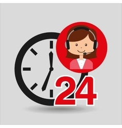 Female call center 24 clock service vector
